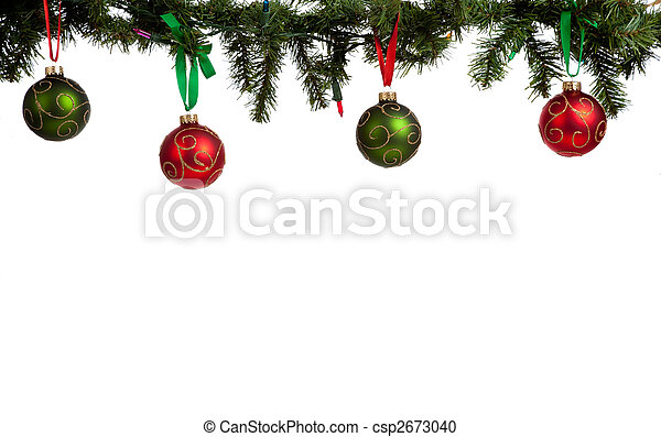 Christmas ornament/baubles hanging from garland - csp2673040