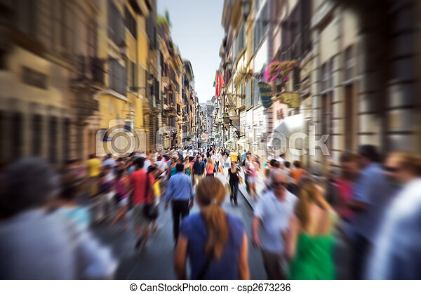 Crowd on a narrow Italian street - csp2673236