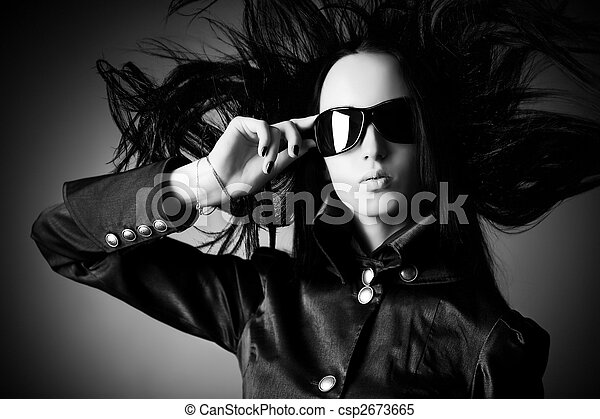 Goth woman with fluttering hair - csp2673665