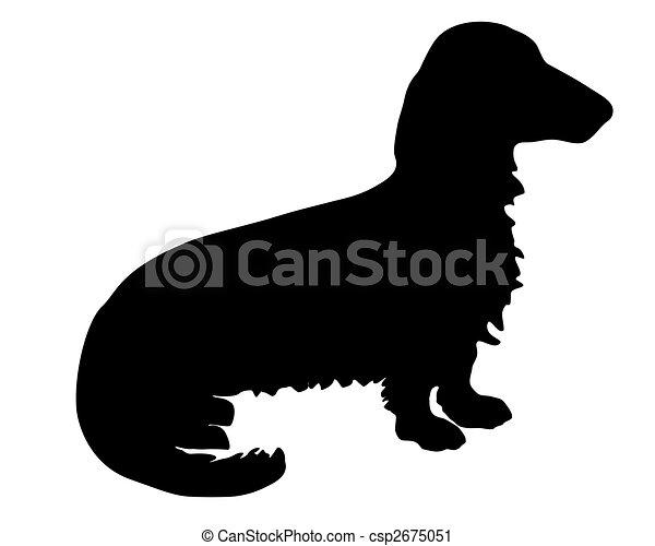 Teckel Dog Image Black White Clipart