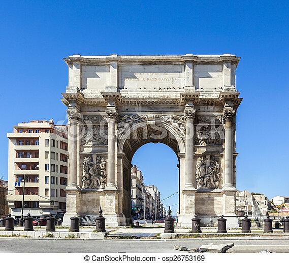 Stock image of triumphal arc porte also known as porte for Porte 4 marseille