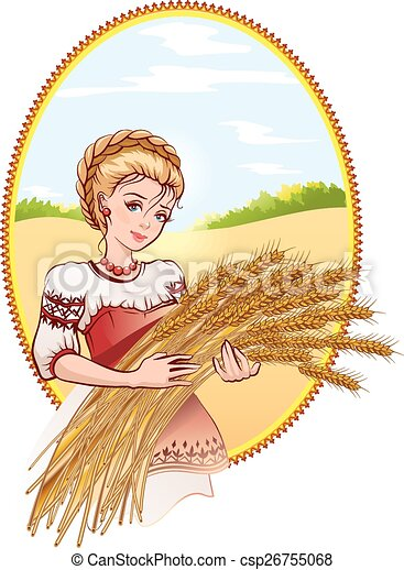 Clip Art Vector of Woman holding wheat ears. Illustration in ...