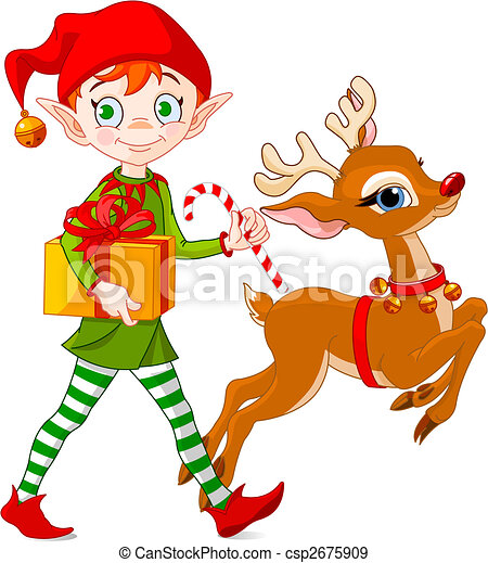 navidad, duende, lleva, regalos, juntos, Rudolph, el, nosed rojo, reno
