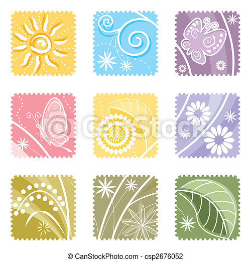 Nine In One Floral Label - csp2676052