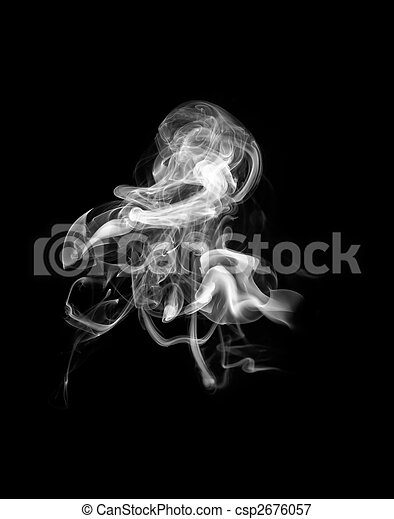 Abstract white smoke shape over black - csp2676057