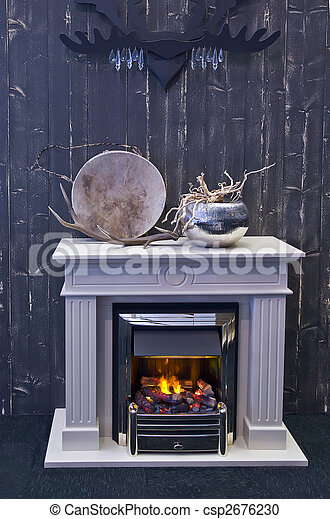 fire place with horn - csp2676230