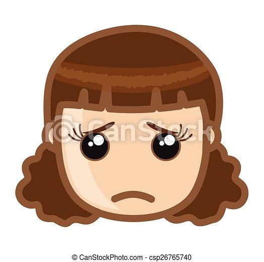 EPS Vector of Emotional Girl Face - Cartoon Sad Young Girl ...