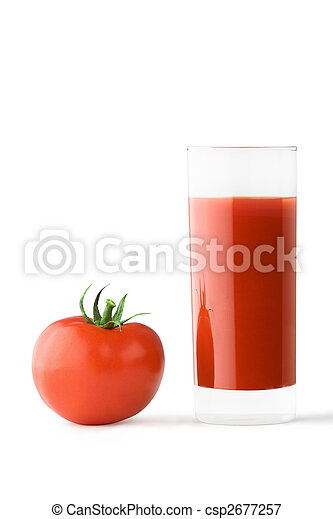 Glass of tomato juice and tomato - csp2677257