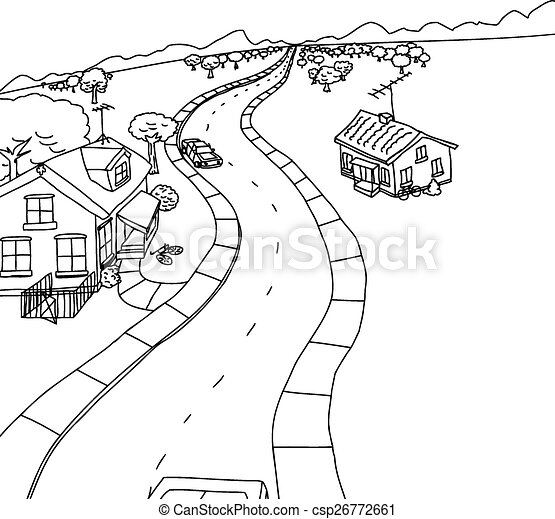 Clip Art Vector Of Outline Cartoon Of Two Houses On Road
