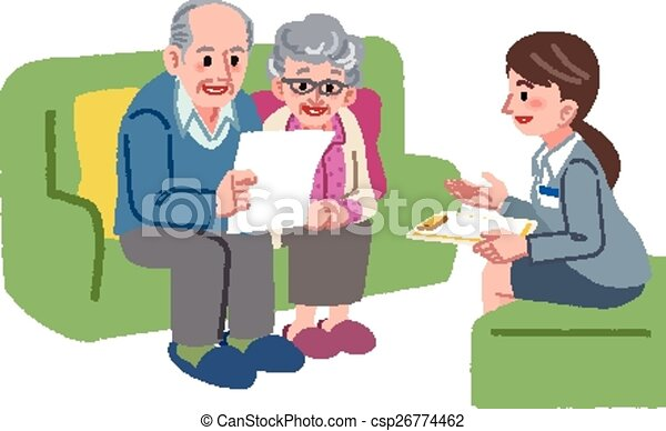 Clip Art Vector Of Elderly Couple Meeting With Geriatric