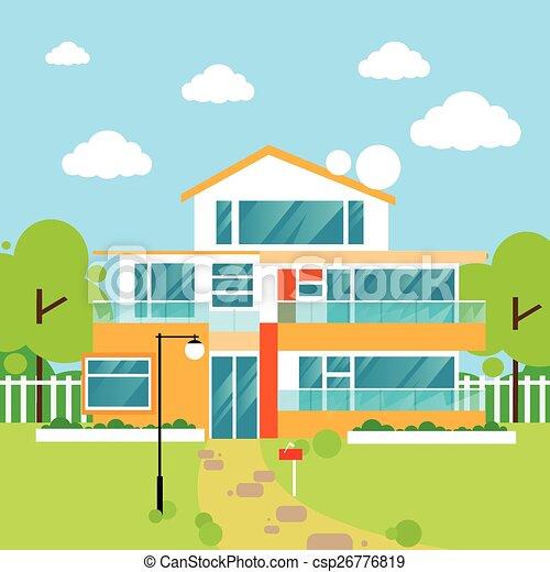 Big modern villa house flat design royalty free for Modern house clipart