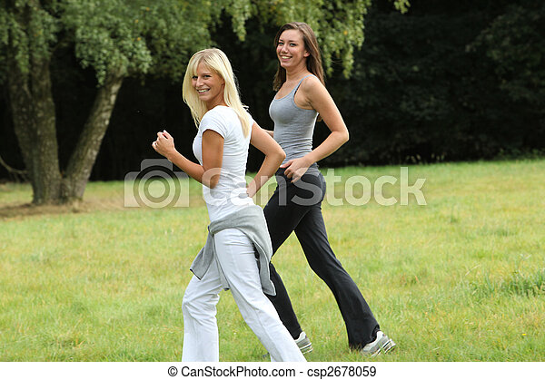 Two young women in sports - csp2678059