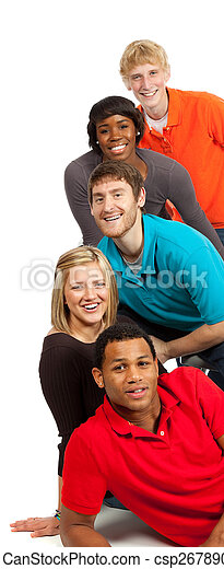 Group of multi-racial college students - csp2678900