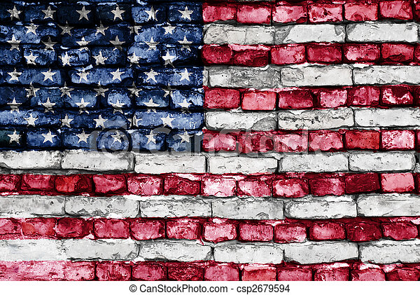 Flag of USA painted on an old brick wall - csp2679594