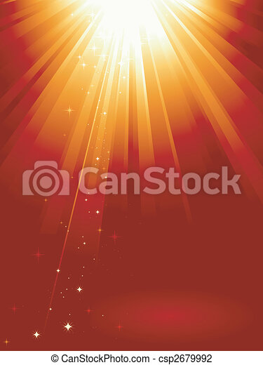Red golden light burst with stars - csp2679992