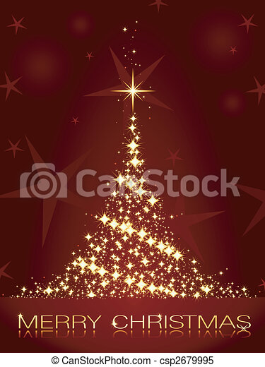 Dark red Christmas card with shining golden Christmas tree - csp2679995