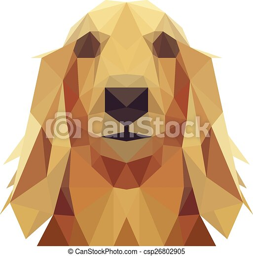 Vector Clipart of Low Poly Geometric Dog Design - Long Hair ...