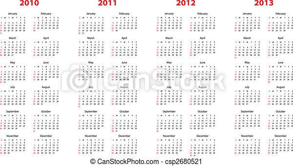calendar for 2010 through 2013 - csp2680521