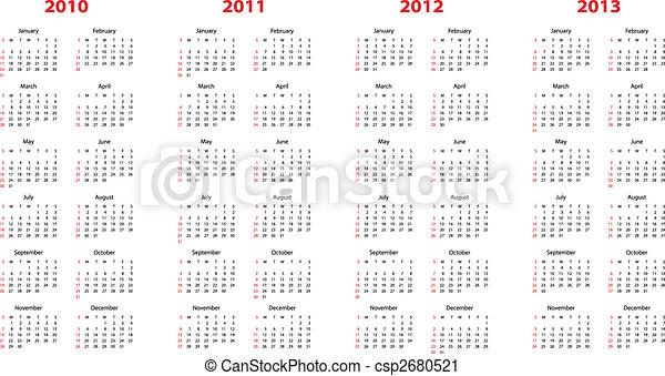calendar for 2010 through 2013 - csp2680521