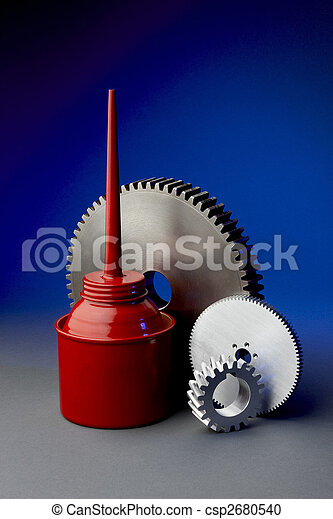 Oil can with gears