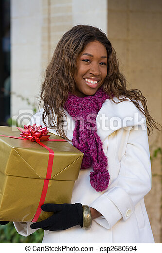 Happy Woman Christmas Shopping - csp2680594