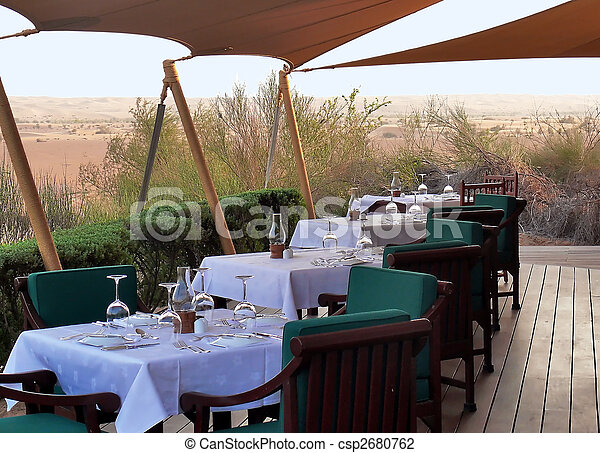 wooden terrace restaurants in the wilderness - csp2680762