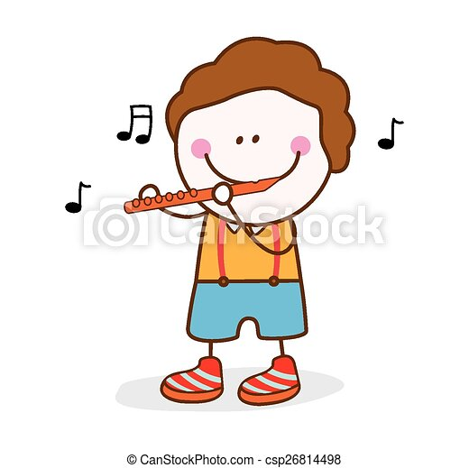 EPS Vectors of boy playing flute csp26814498 - Search Clip ...