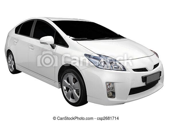 white hybrid car - csp2681714