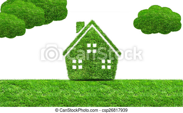 Abstract green grass house