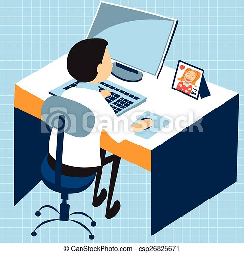 businessman computer work - csp26825671