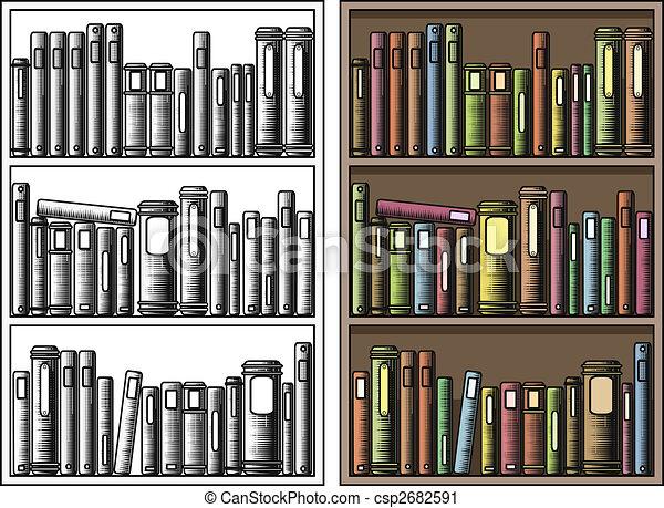 Bücherregal clipart schwarz weiß  Bücherregale Illustrationen und Clip-Art. 4.355 Bücherregale ...