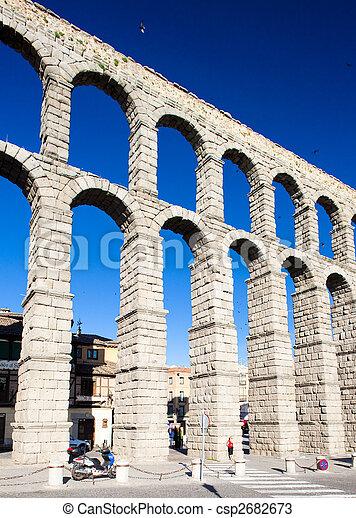 Roman aqueduct, Segovia, Castile and Leon, Spain - csp2682673