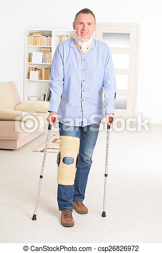 Man with leg in knee cages