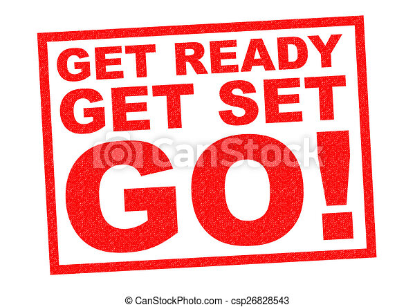 drawing of get ready get set go red rubber stamp over a