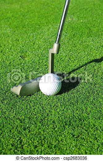 image de golf balle putter vert csp2683036 recherchez. Black Bedroom Furniture Sets. Home Design Ideas
