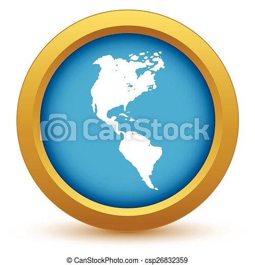Gold continent America icon - csp26832359