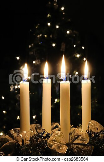 Christmas advent wreath with burning candles - csp2683564