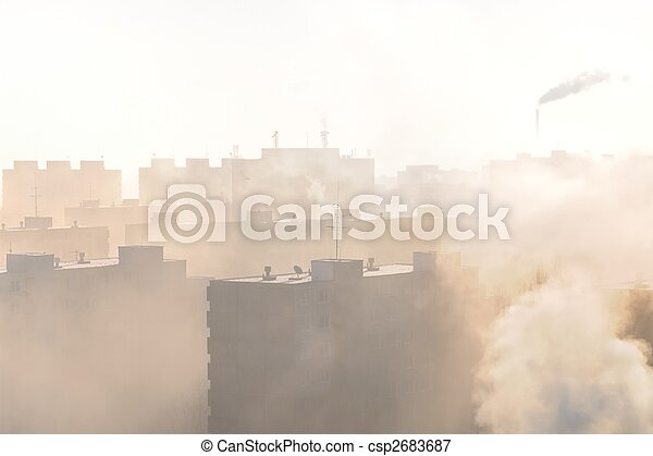 Residential area in fog and smog - csp2683687