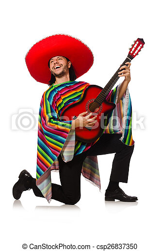 Mexican in vivid poncho holding guitar isolated on white - csp26837350