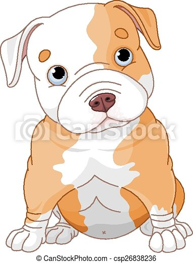 Vectors of Pitbull puppy - Illustration of cute Pitbull ...