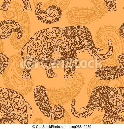 vektor von muster indische seamless elefant indian elefant csp26840989 suchen sie. Black Bedroom Furniture Sets. Home Design Ideas