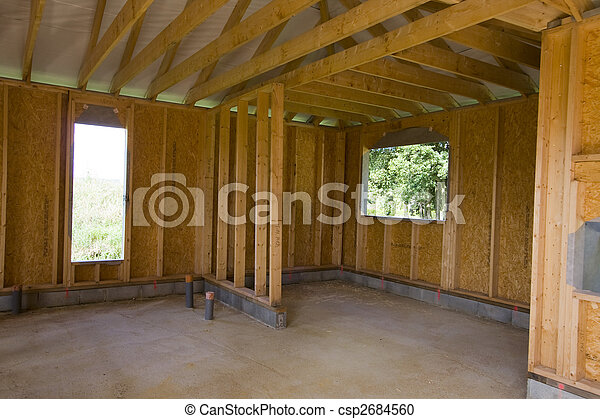 part of a wood house construction - csp2684560