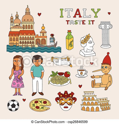Vector Italy Doodle Art for Travel and Tourism - csp26846599
