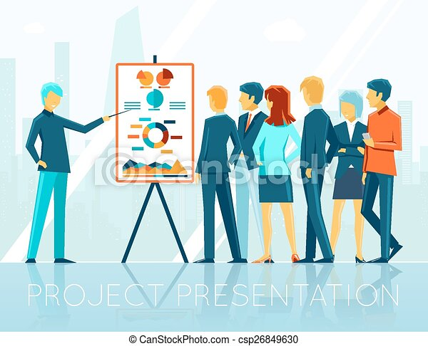 Vector Clipart of Business employee presentation chart with square – Project Presentation