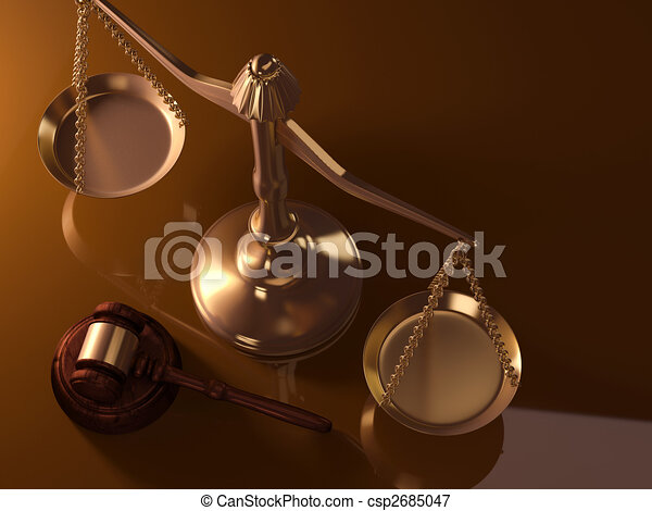 Justice scale and gavel - csp2685047