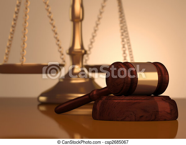 Gavel and scale of justice - csp2685067