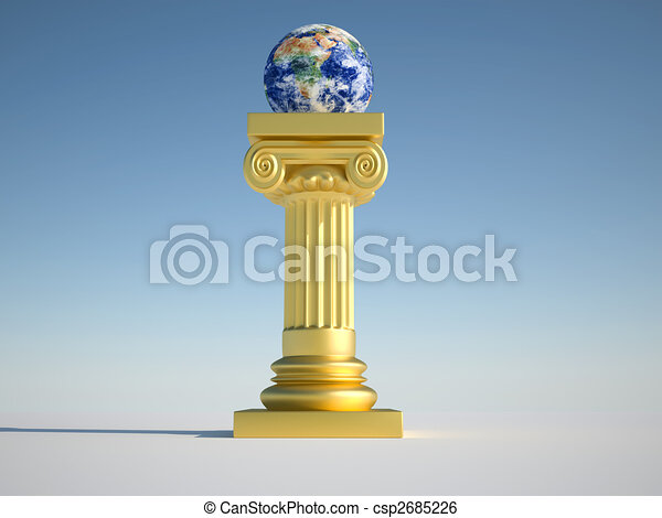 Earth globe on column - csp2685226