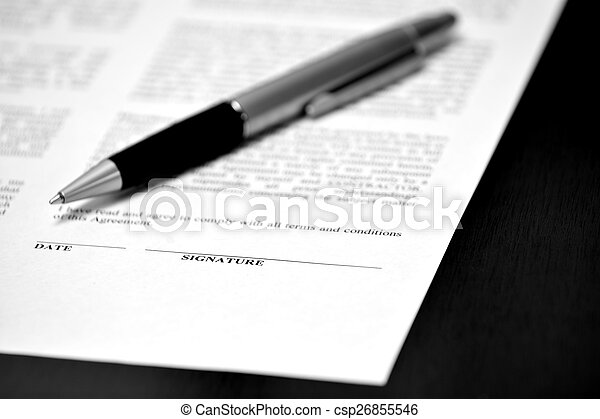 Paper with Signature Line Contract Pen Closing Deal