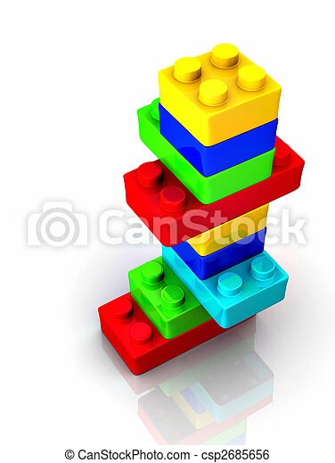 Colorful lego toy blocks  on white backround - 3d render - csp2685656