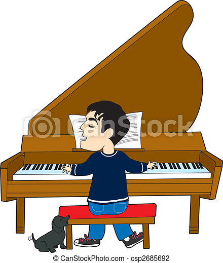 Piano Player and Dog - csp2685692
